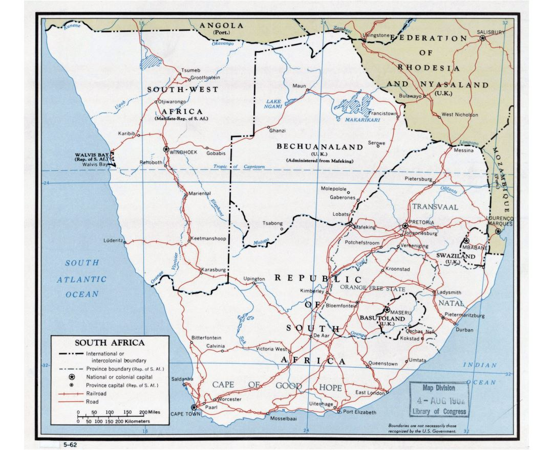 Large detailed political map of South Africa with roads, railroads and major cities - 1962