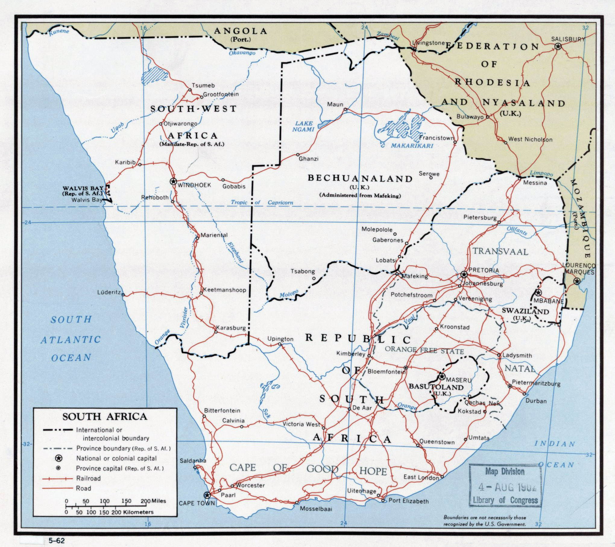 Large detailed political map of South Africa with roads railroads
