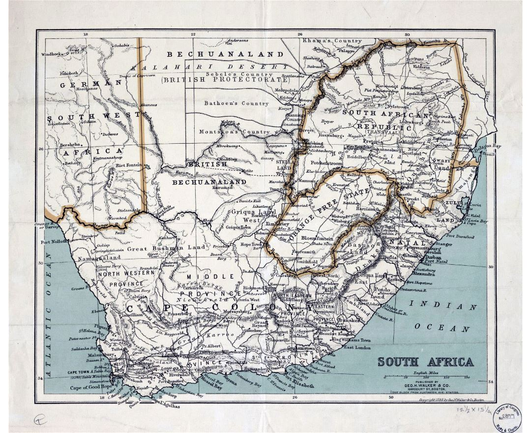 Large old political map of South Africa with relief - 1899