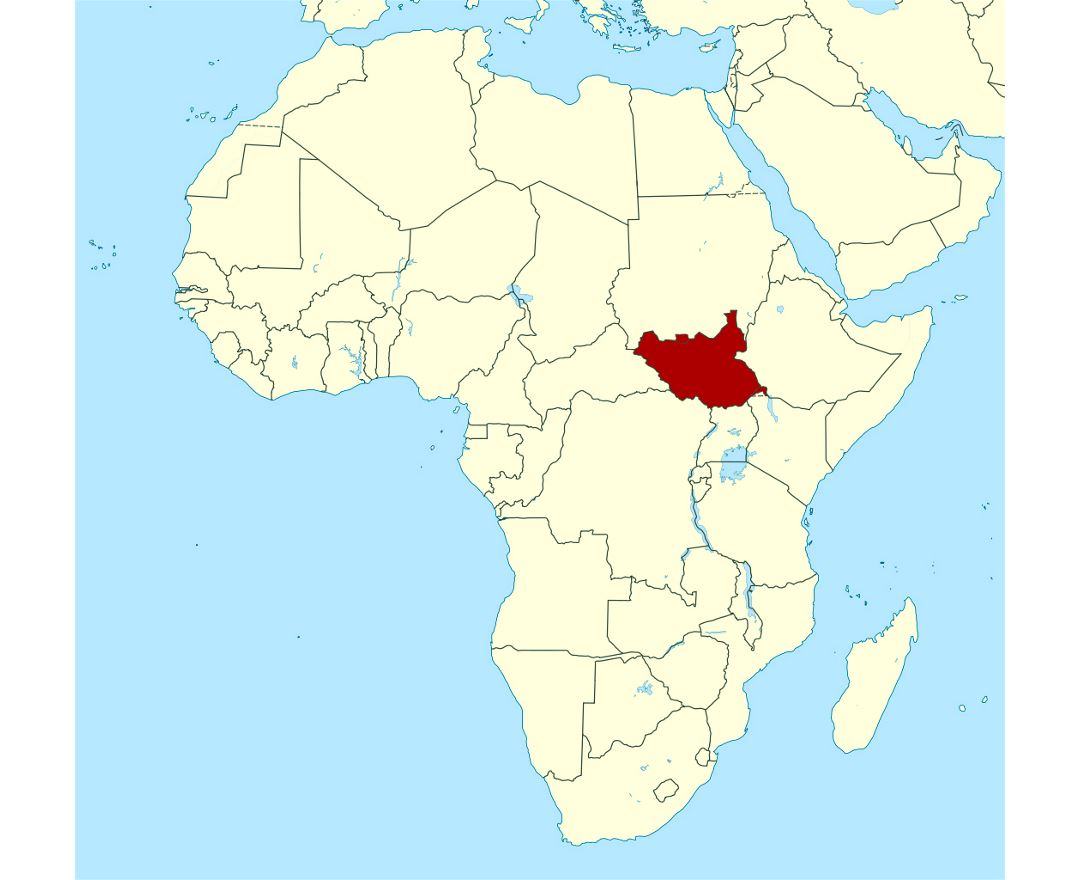 Detailed location map of South Sudan in Africa