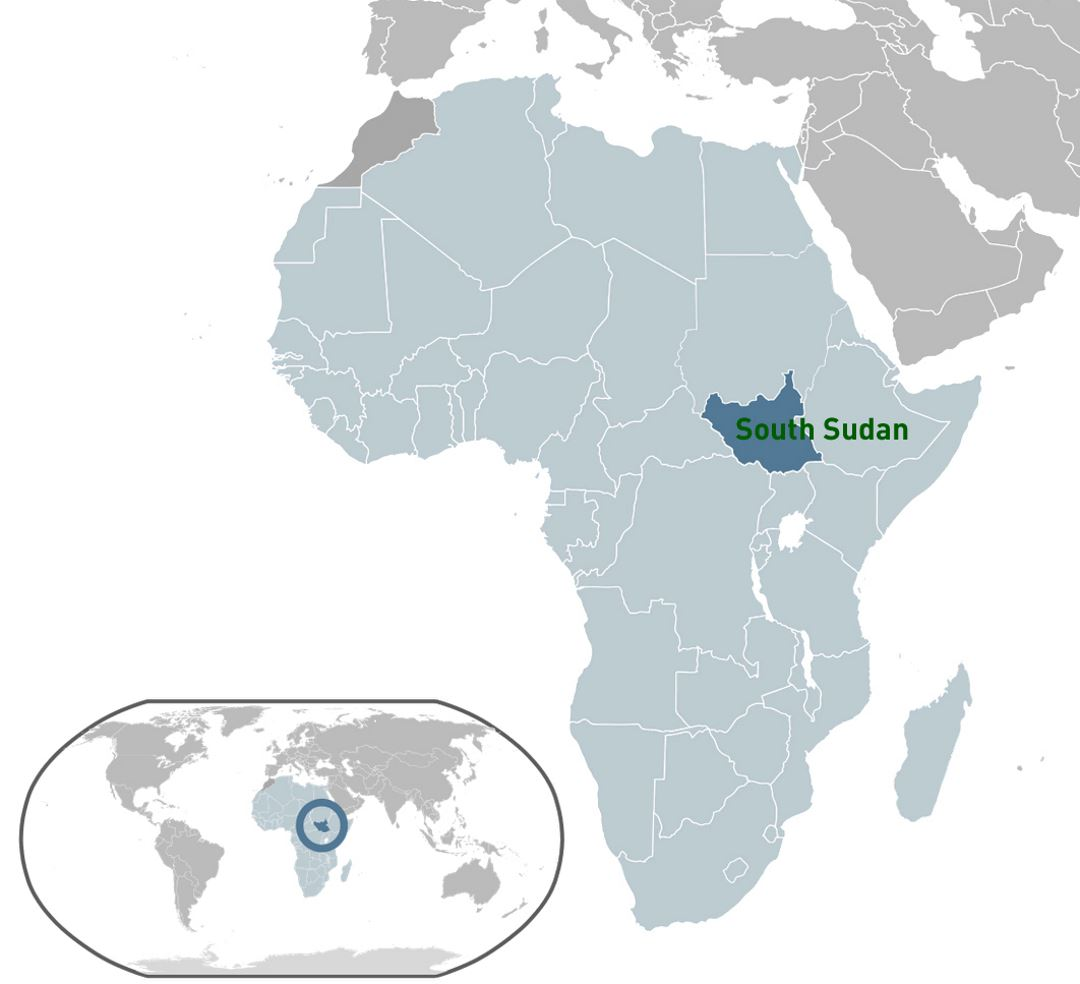 Detailed location map of South Sudan
