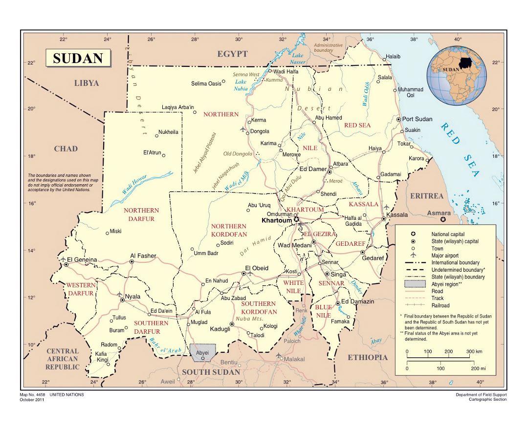 Detailed political and administrative map of South Sudan with roads, railroads, cities and airports