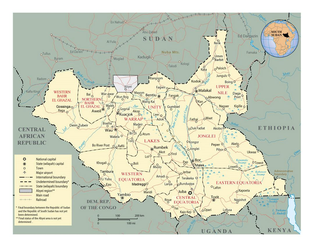 Detailed political and administrative map of South Sudan with roads, railroads, major cities and airports