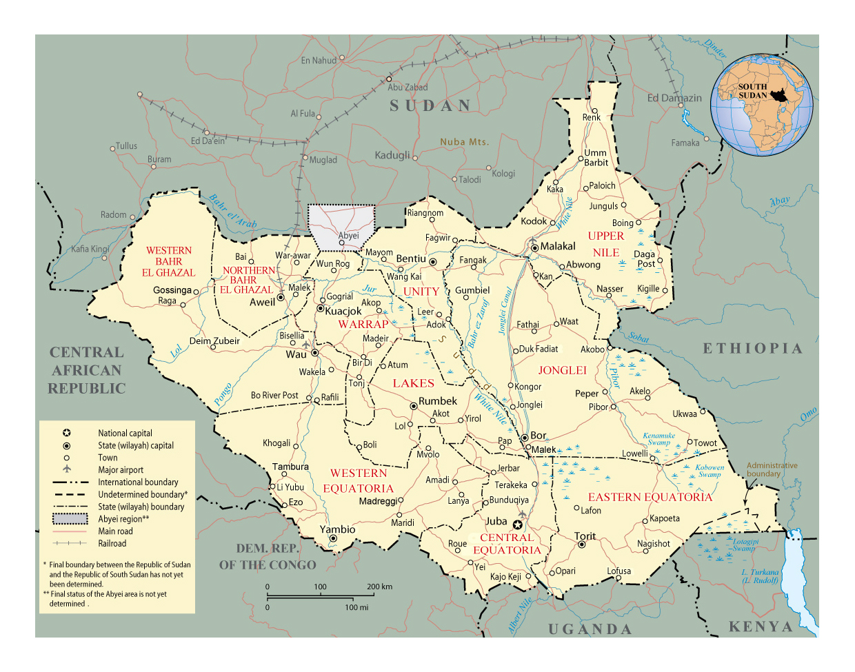 Detailed political and administrative map of South Sudan with roads
