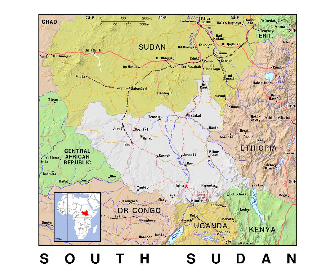 Maps of South Sudan Detailed map of South Sudan in English