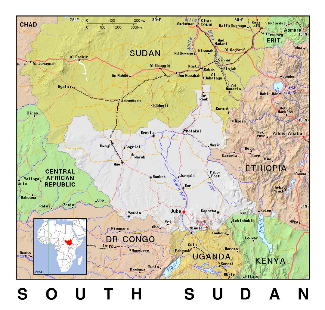 Detailed political map of South Sudan with relief