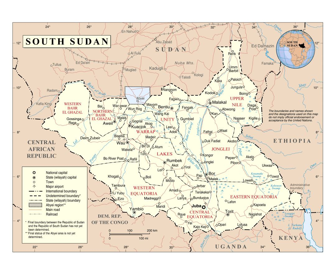 Large detailed political and administrative map of South Sudan with roads, railroads, cities and airports