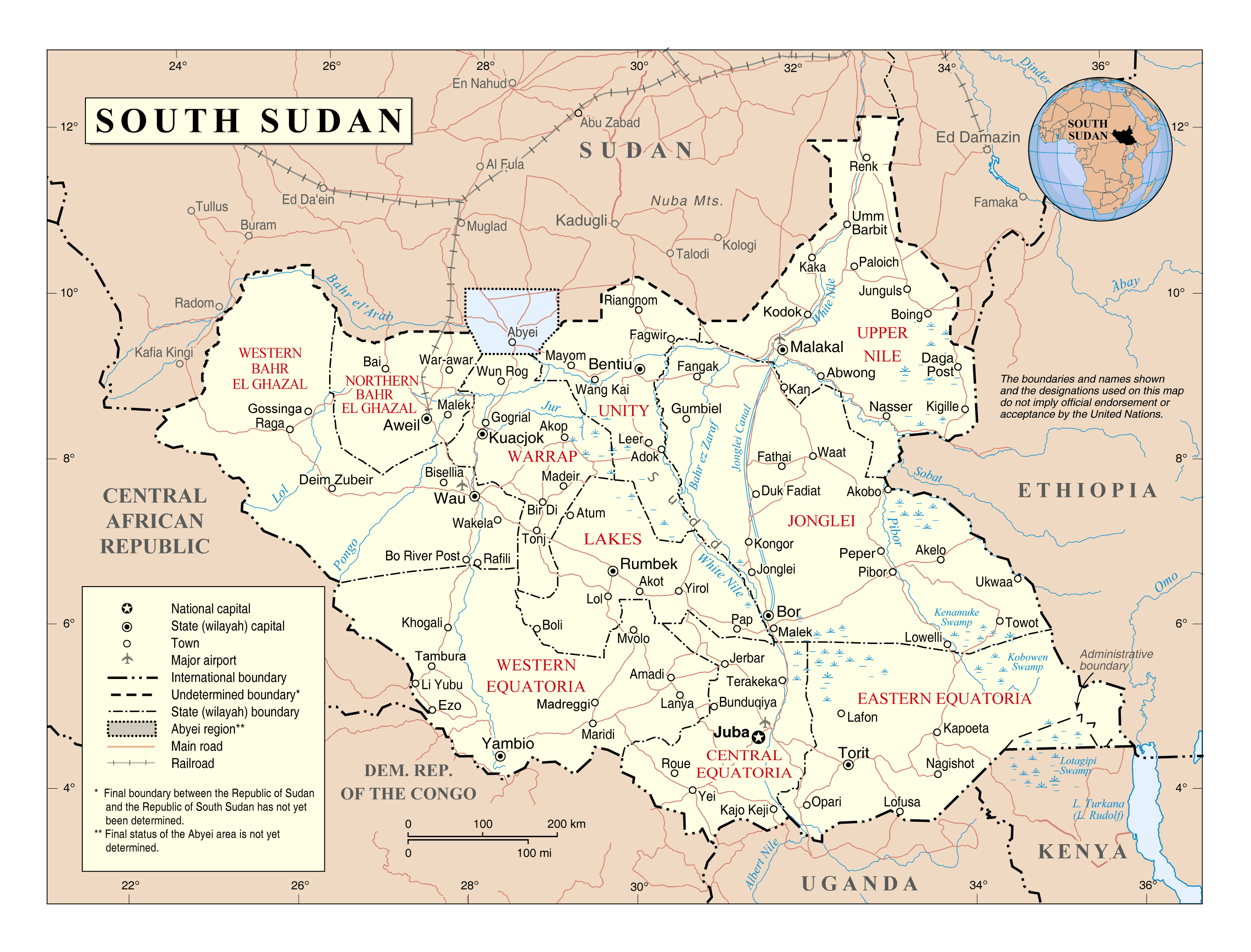 Large detailed political and administrative map of South Sudan with