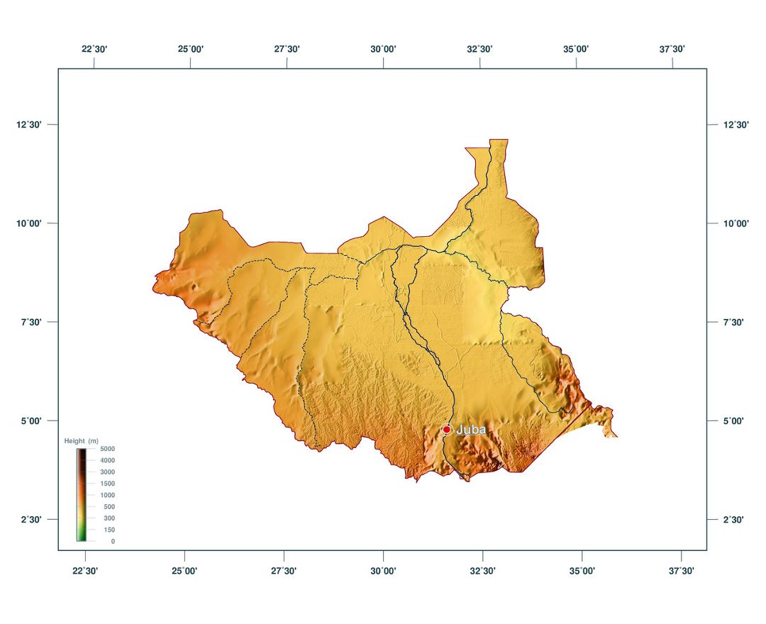 Large elevation map of South Sudan