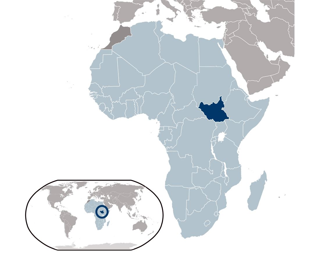 Large location map of South Sudan