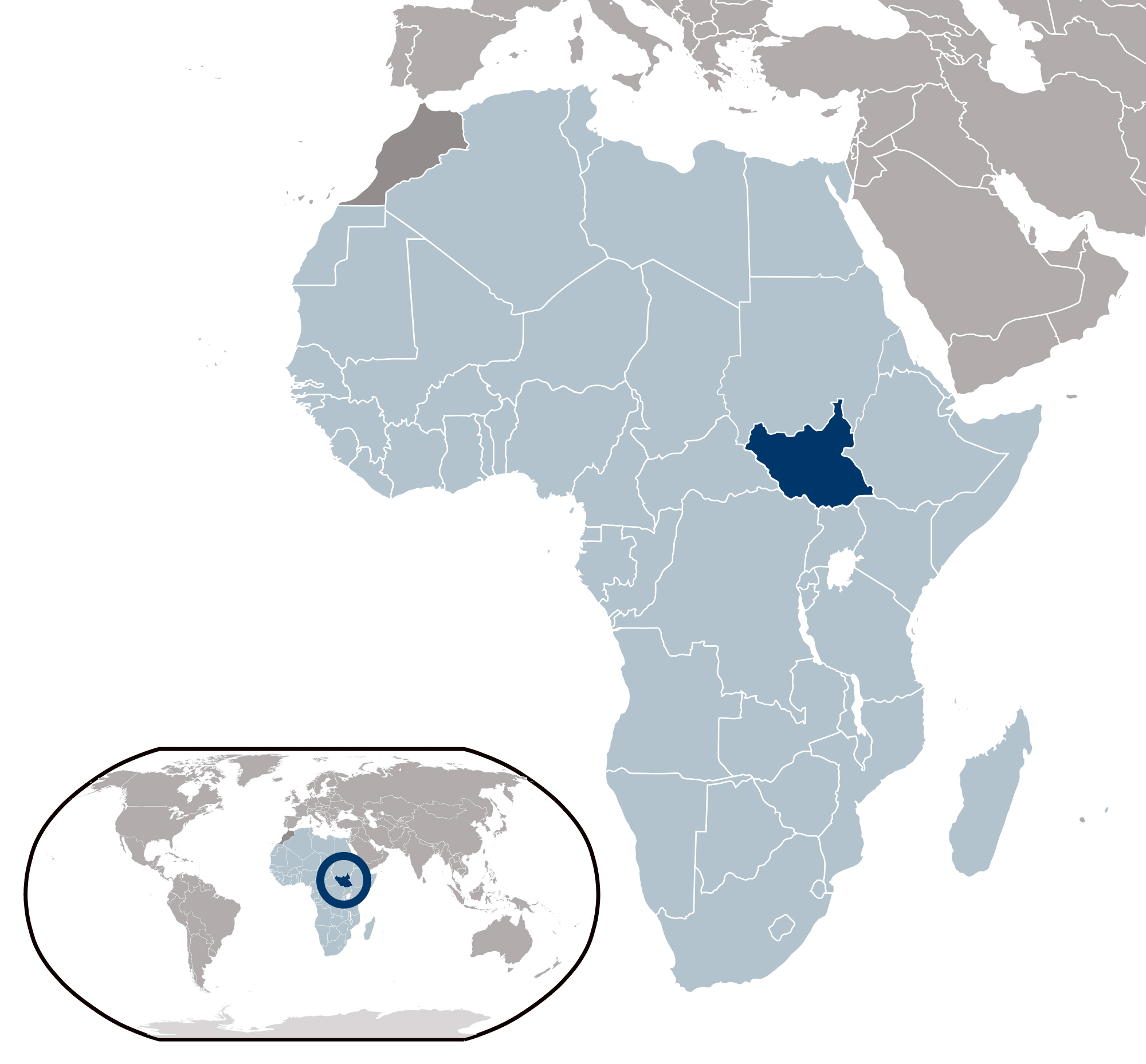 Large location map of South Sudan | South Sudan | Africa | Mapsland ...