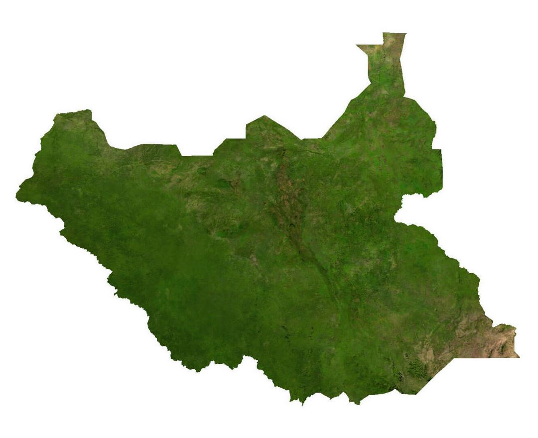 Large satellite map of South Sudan