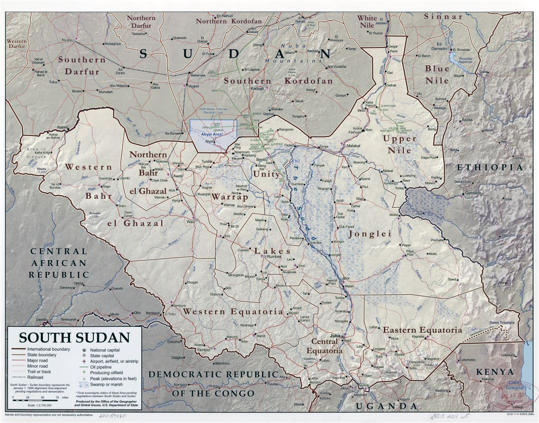 Large scale detailed political and administrative map of South Sudan with relief, roads, railroads, cities, airports and other marks - 2011