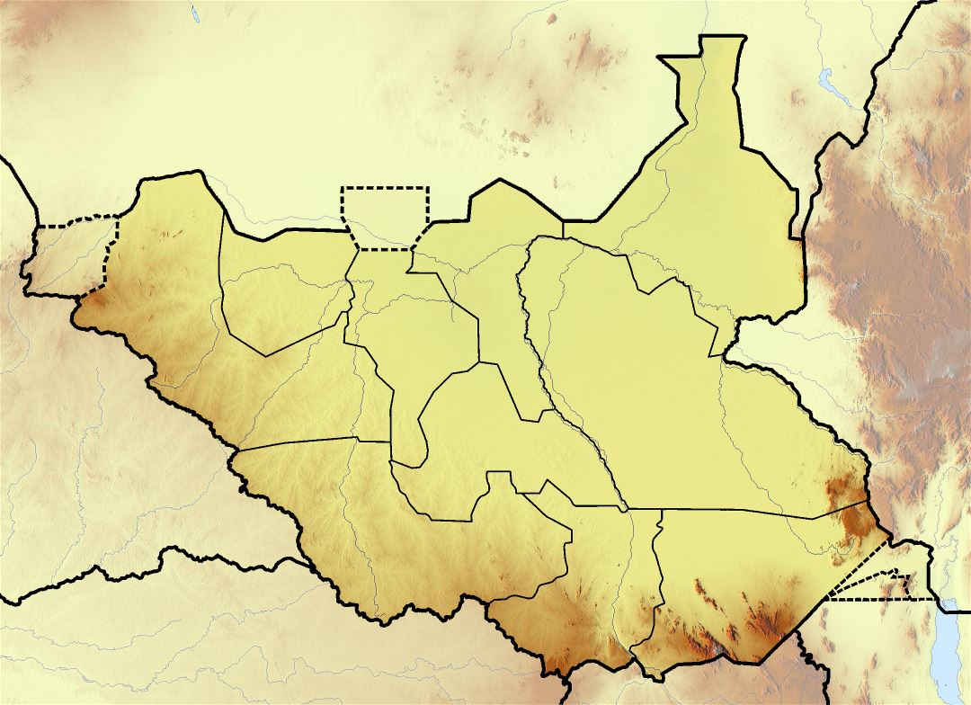 Large topographical map of South Sudan