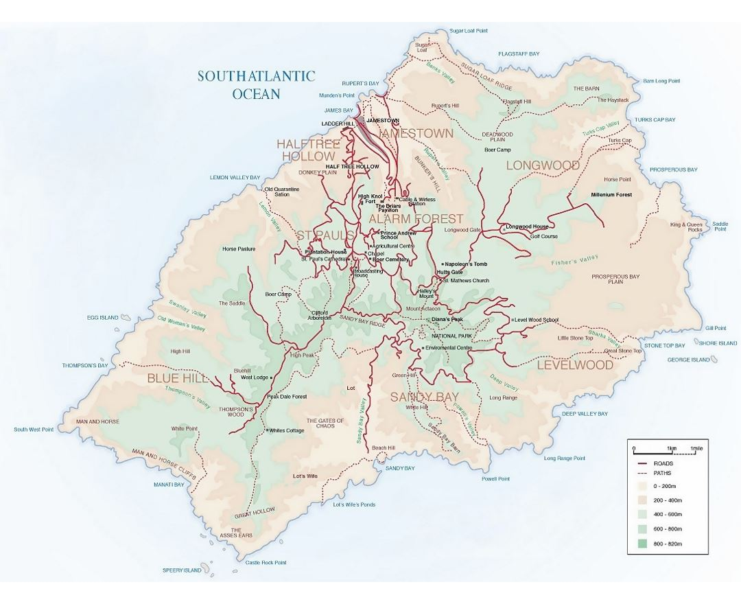 Maps Of St Helena Detailed Map Of St Helena Island In English - Saint helena map