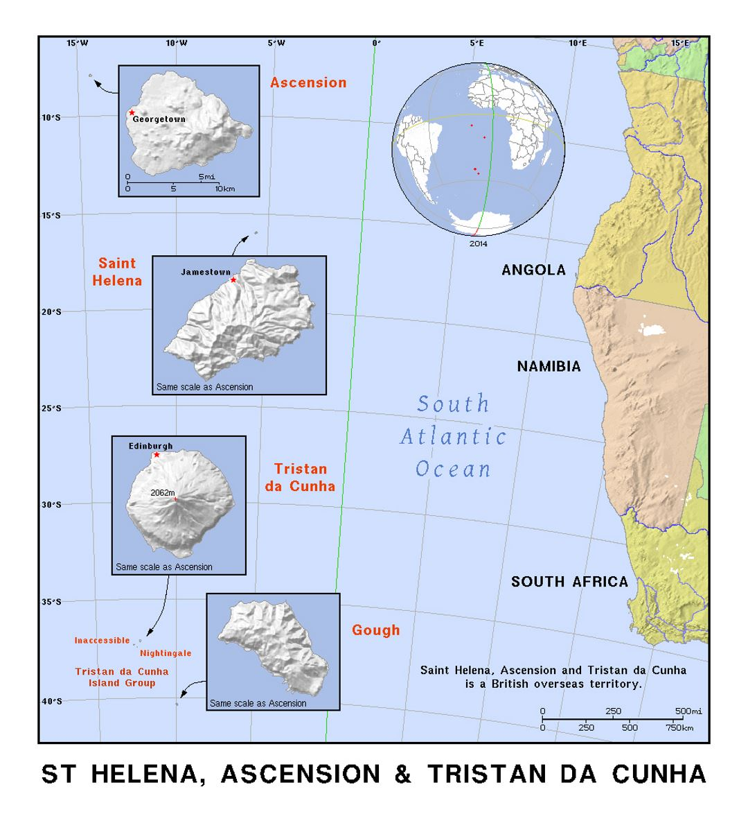 Detailed map of Ascension, St. Helena, Tristan Da Cunha and Gough islands with relief
