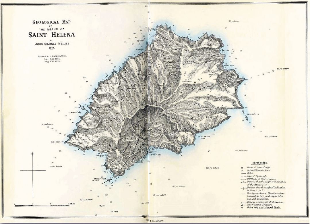 Detailed old topographical map of St. Helena - 1860