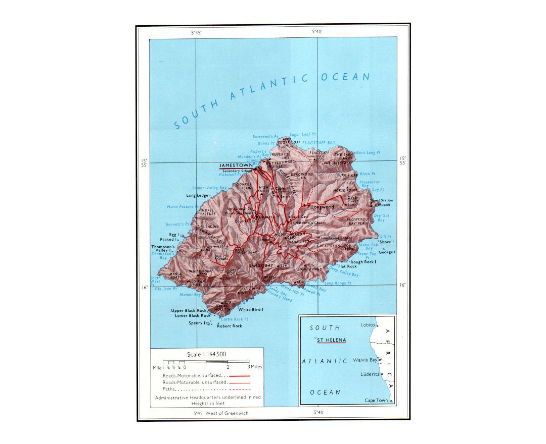 Detailed political and administrative map of St. Helena with relief, roads and cities