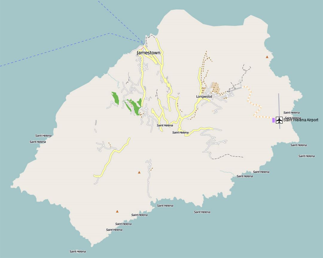 Detailed road map of St Helena Island with airport St Helena