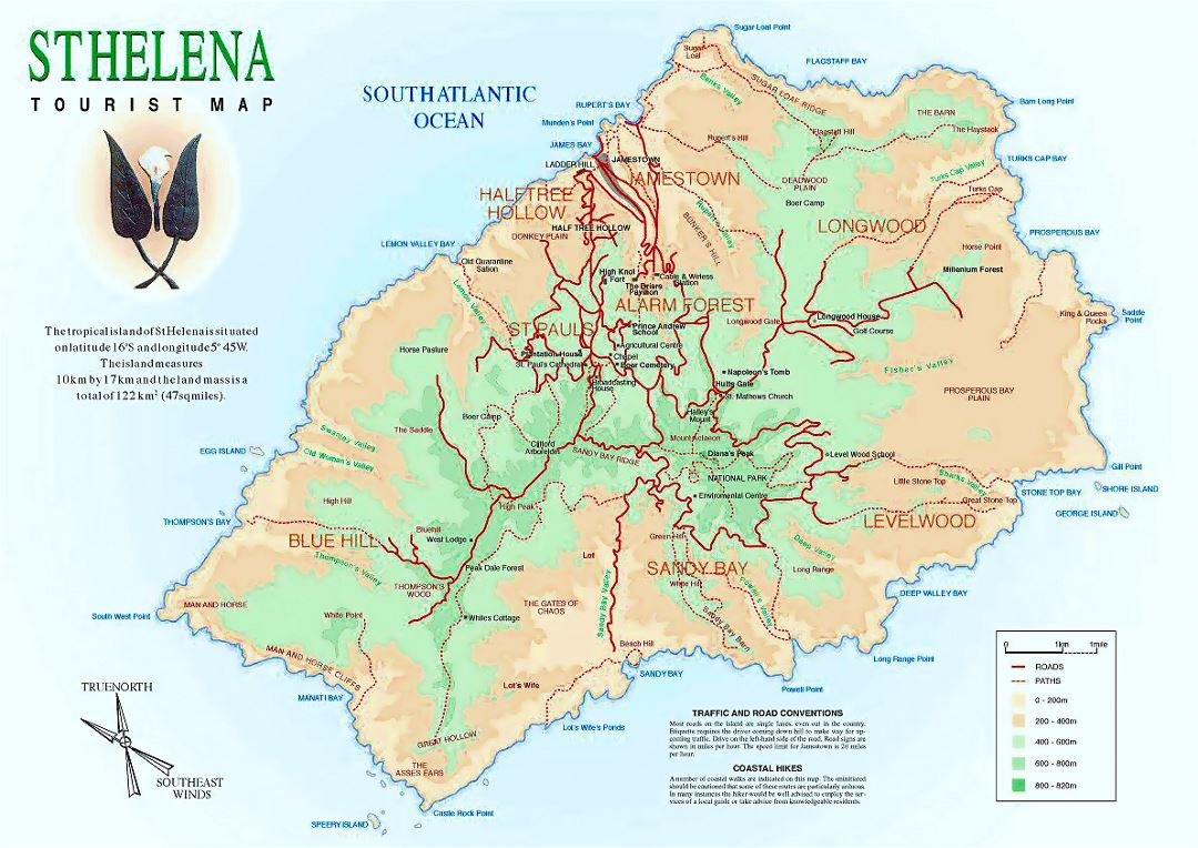 Detailed tourist map of St. Helena