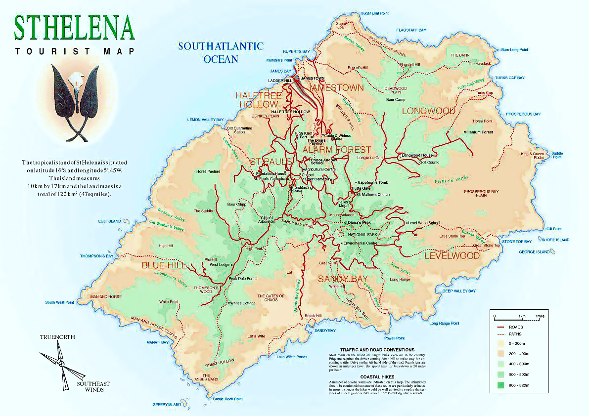 Detailed tourist map of St Helena St Helena Africa Mapsland