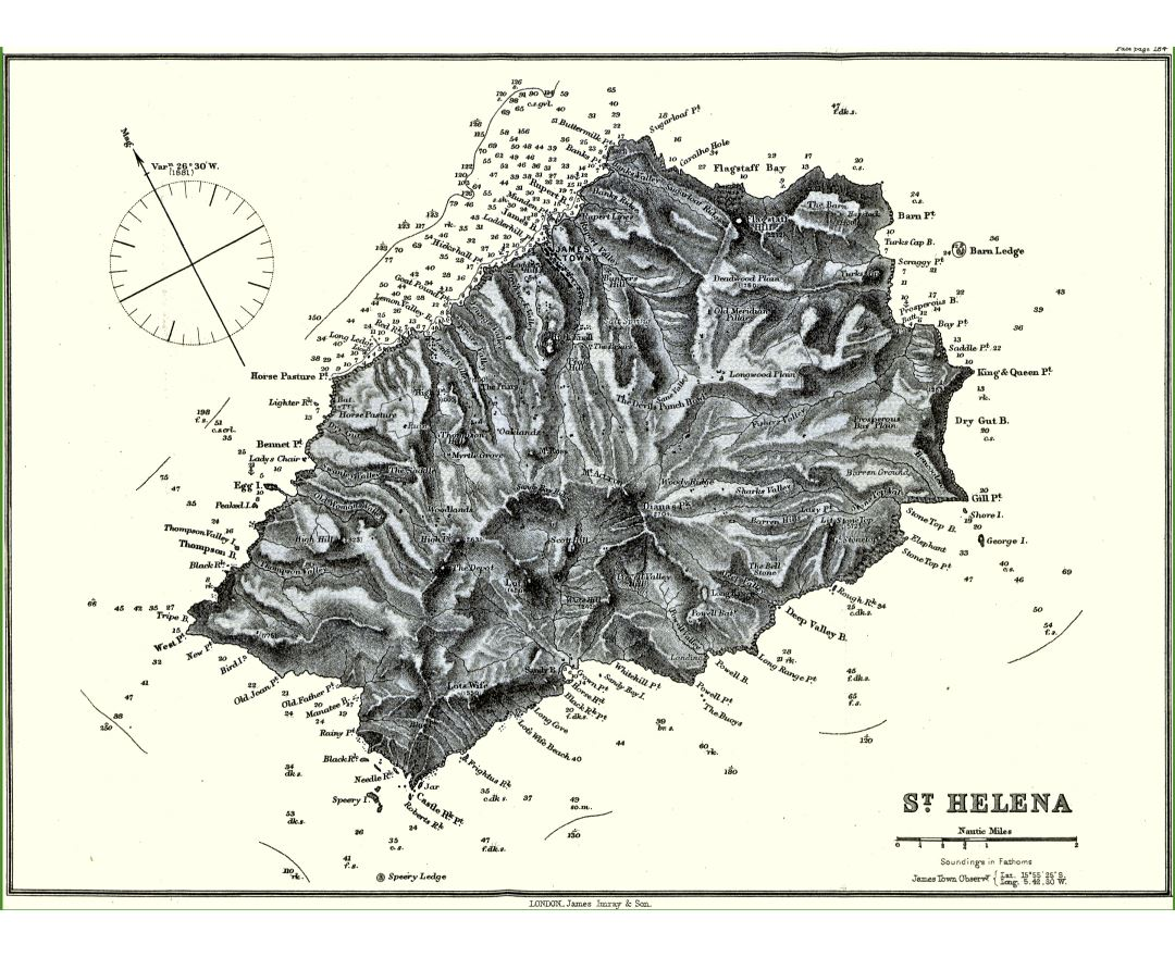 Large detailed old topographical map of St. Helena - 1884