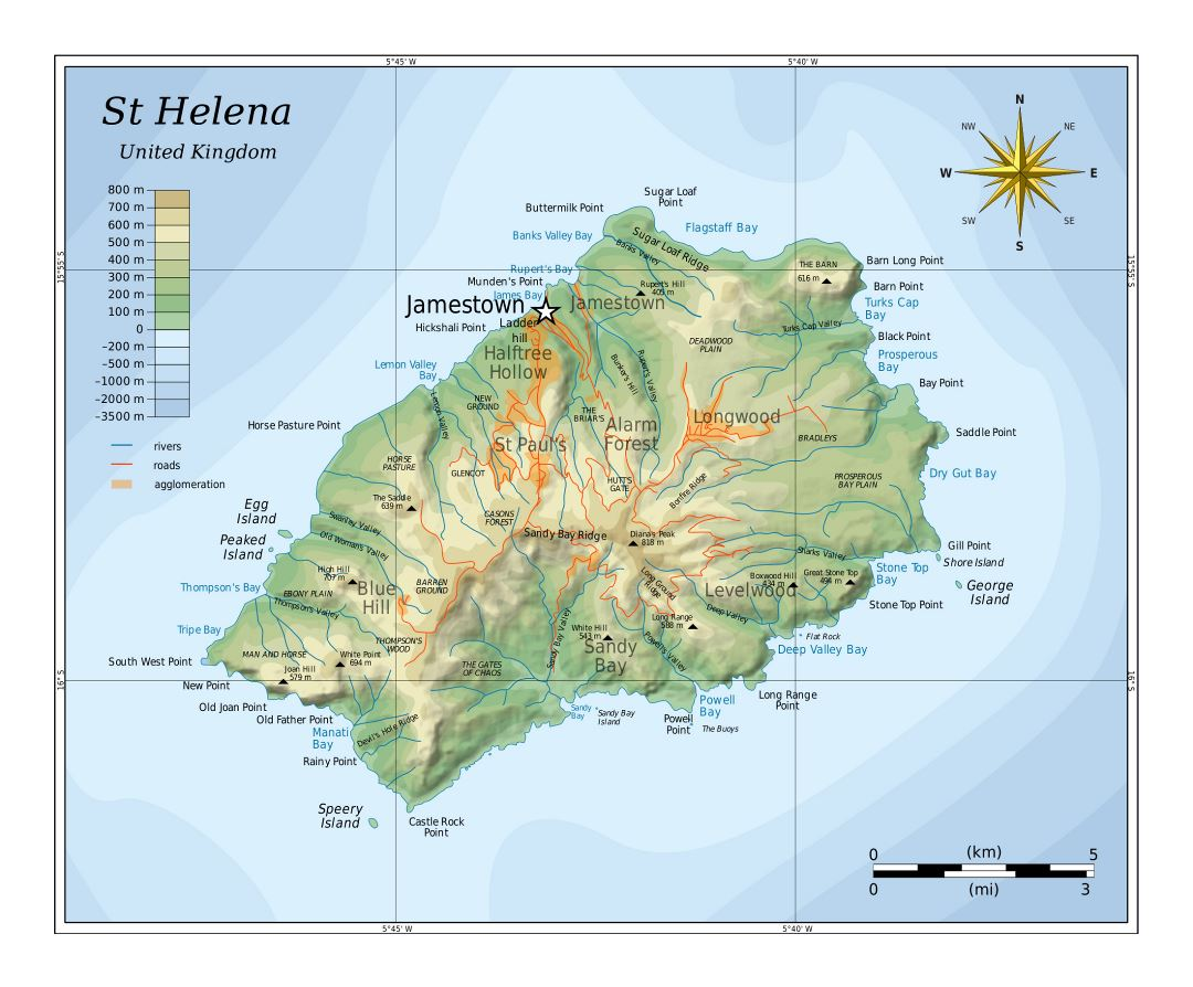 Large detailed physical map of St. Helena with rivers, roads and cities