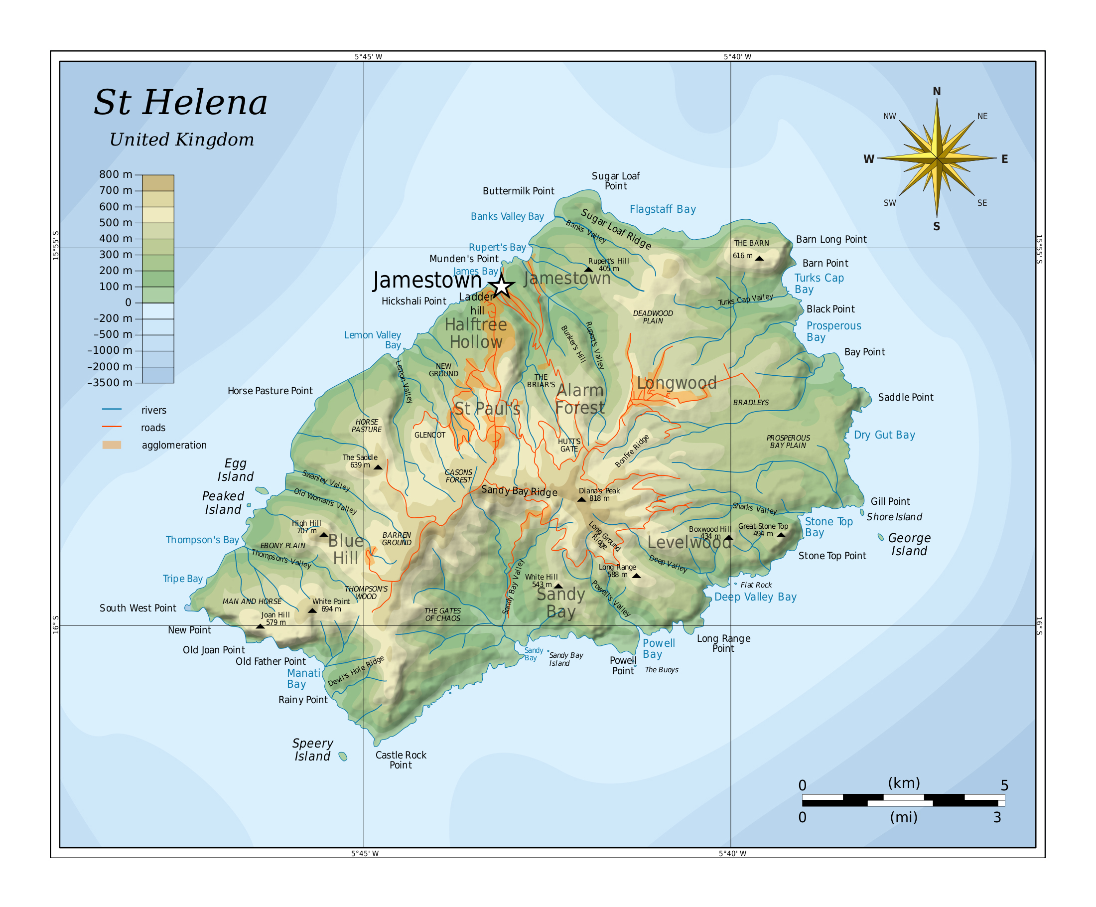 Large detailed physical map of st helena with rivers roads and large detailed physical map of st helena with rivers roads and cities gumiabroncs Gallery