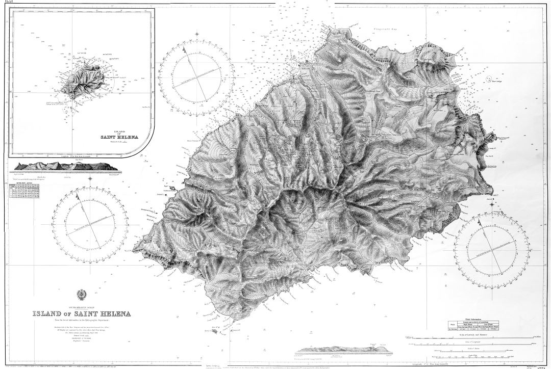 Large scale detailed old map of St. Helena Island - 1922