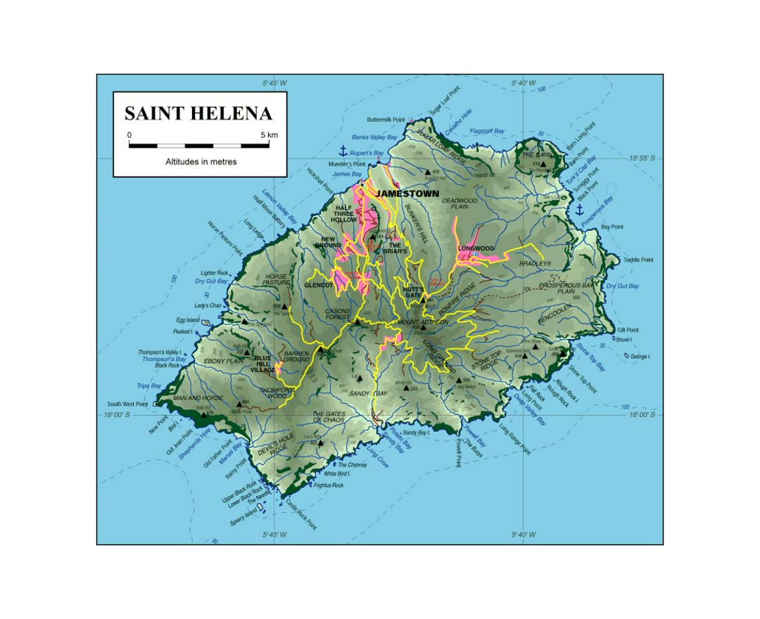 Map of St. Helena Island with other marks