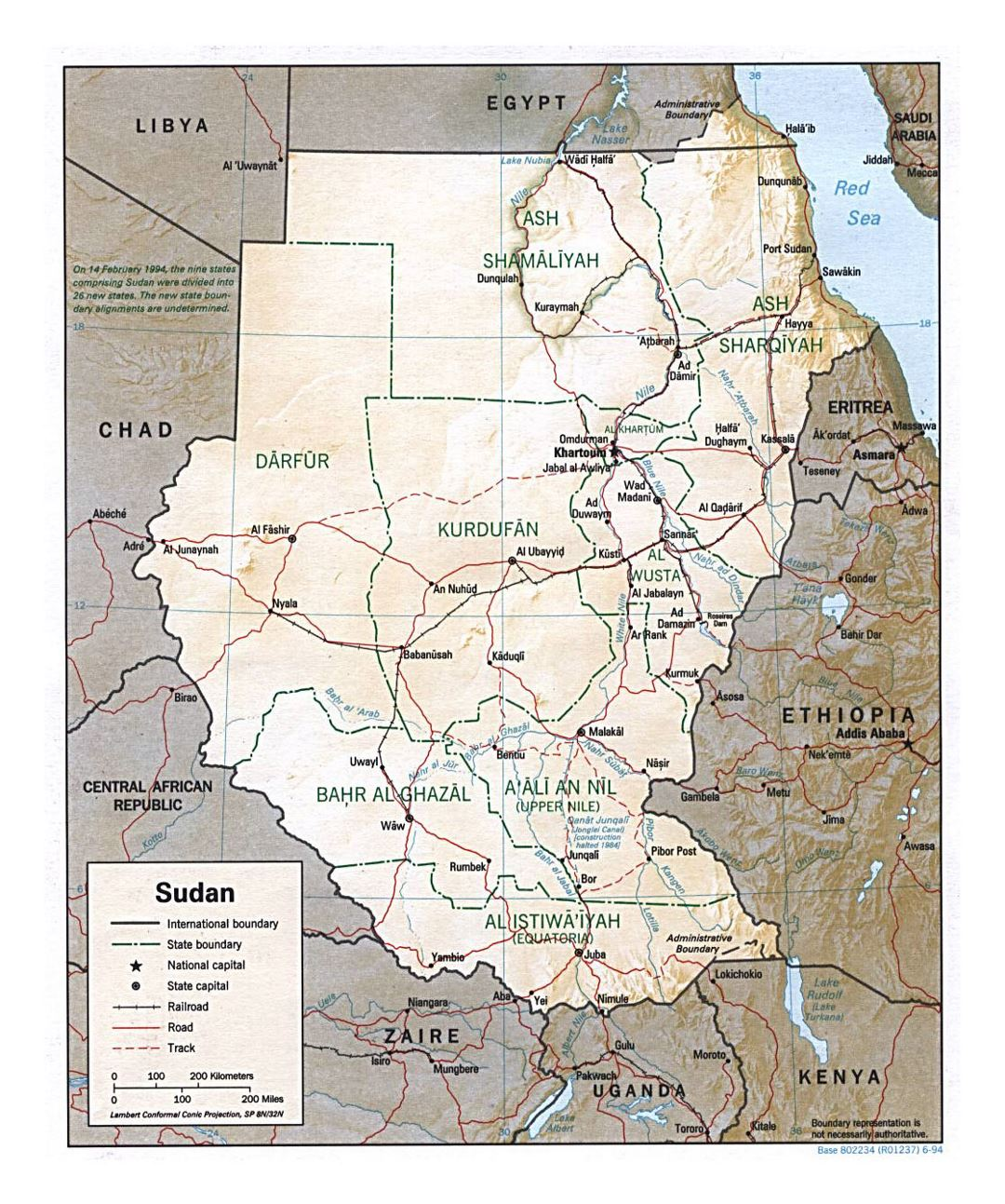 Detailed political and administrative map of Sudan with relief, roads, railroads and major cities - 1994
