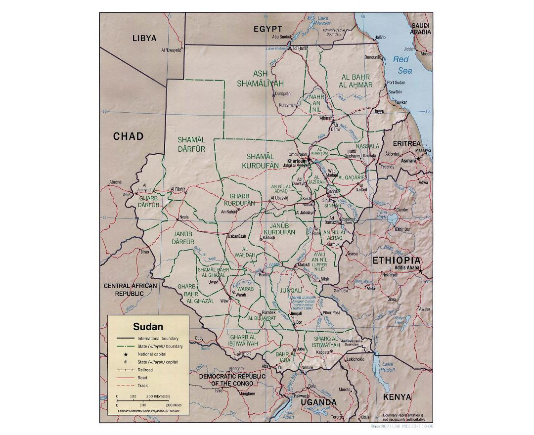 Detailed political and administrative map of Sudan with relief, roads, railroads and major cities - 2000