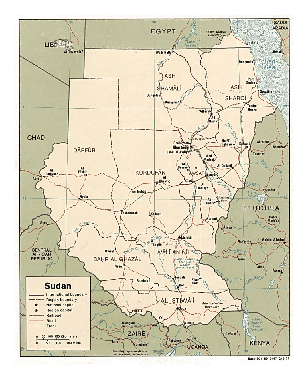 Detailed Political And Administrative Map Of Sudan With