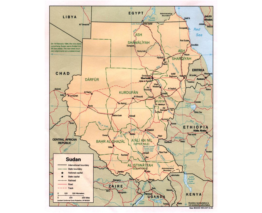 Detailed political and administrative map of Sudan with roads, railroads and major cities - 1994