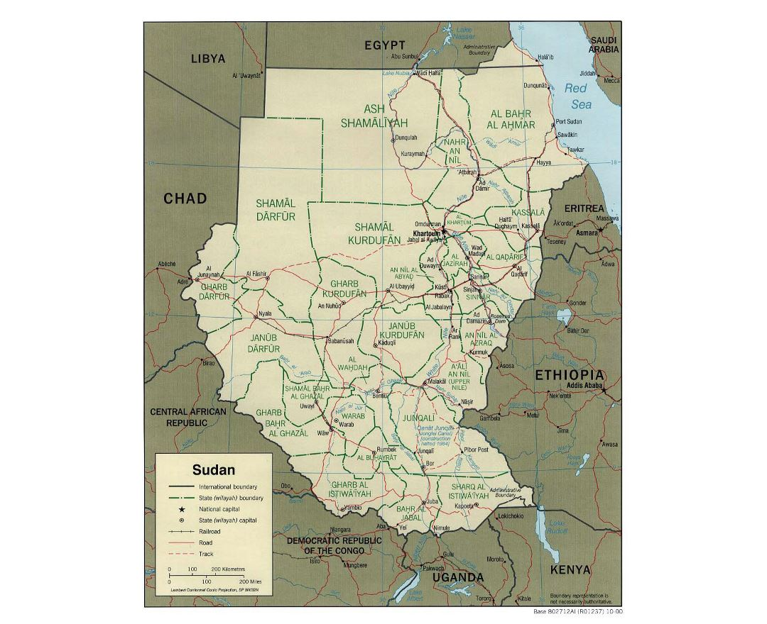 Detailed political and administrative map of Sudan with roads, railroads and major cities - 2000