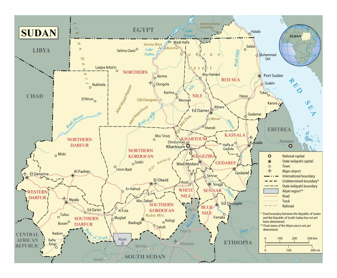 Detailed political and administrative map of Sudan with roads, railroads, cities and airports