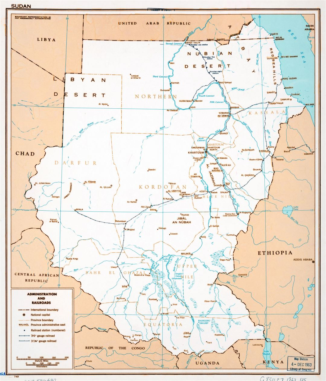 Large detailed administration and railroads map of Sudan - 1963