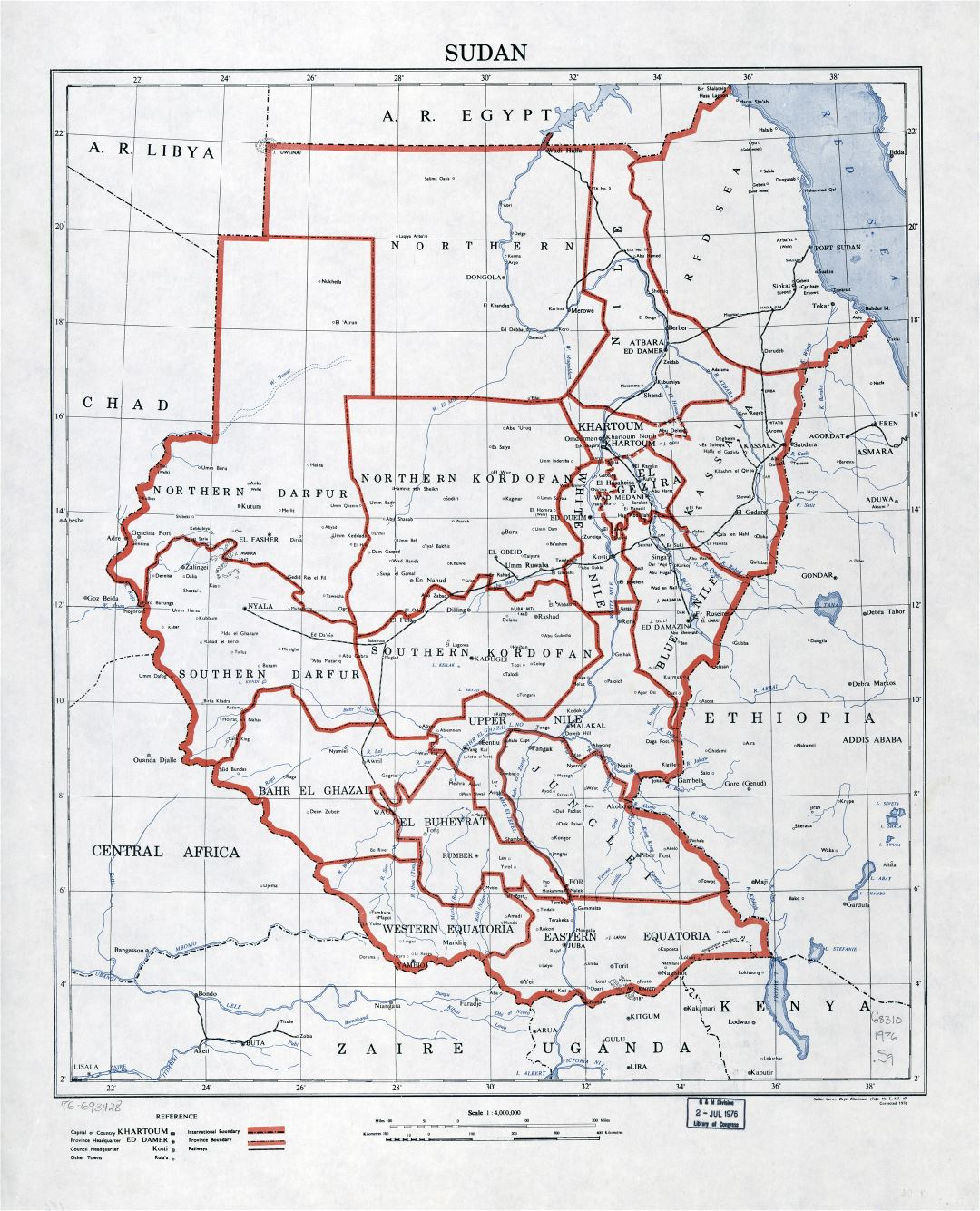 Large detailed political and administrative map of Sudan with railroads and cities - 1976