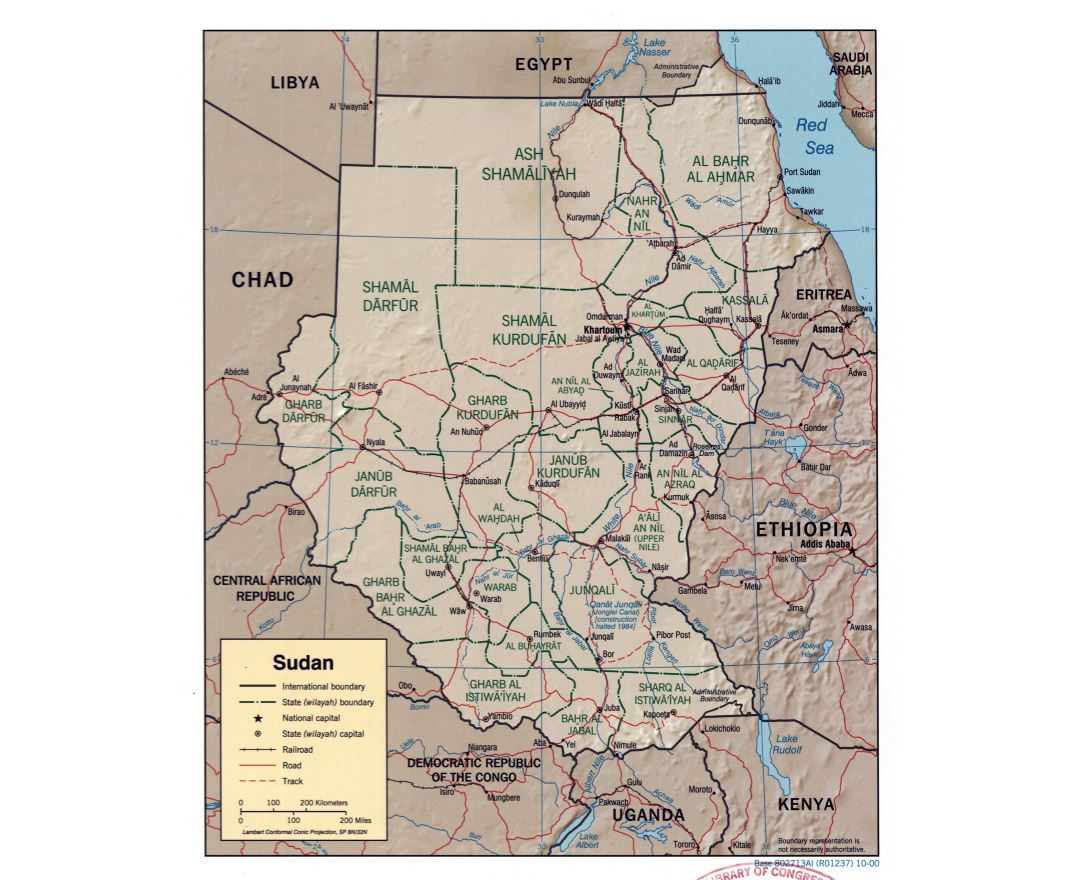 Large detailed political and administrative map of Sudan with relief, roads, railroads and major cities - 2000