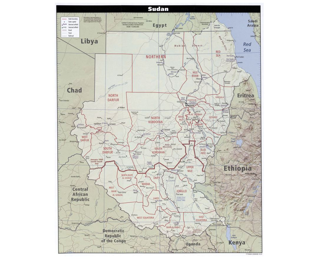 Large detailed political and administrative map of Sudan with relief, roads, railroads, cities and airports - 2007