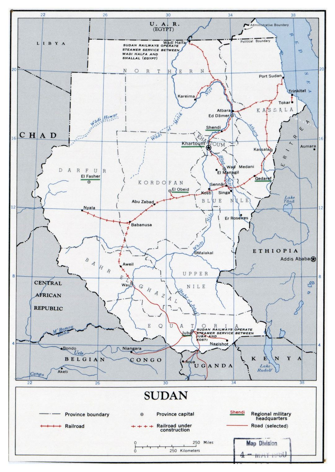Large detailed political and administrative map of Sudan with roads, railroads and major cities - 1960