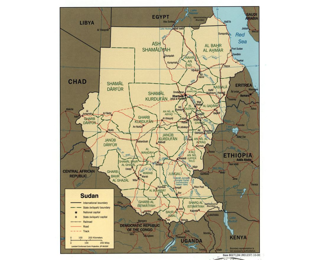 Large detailed political and administrative map of Sudan with roads, railroads and major cities - 2000