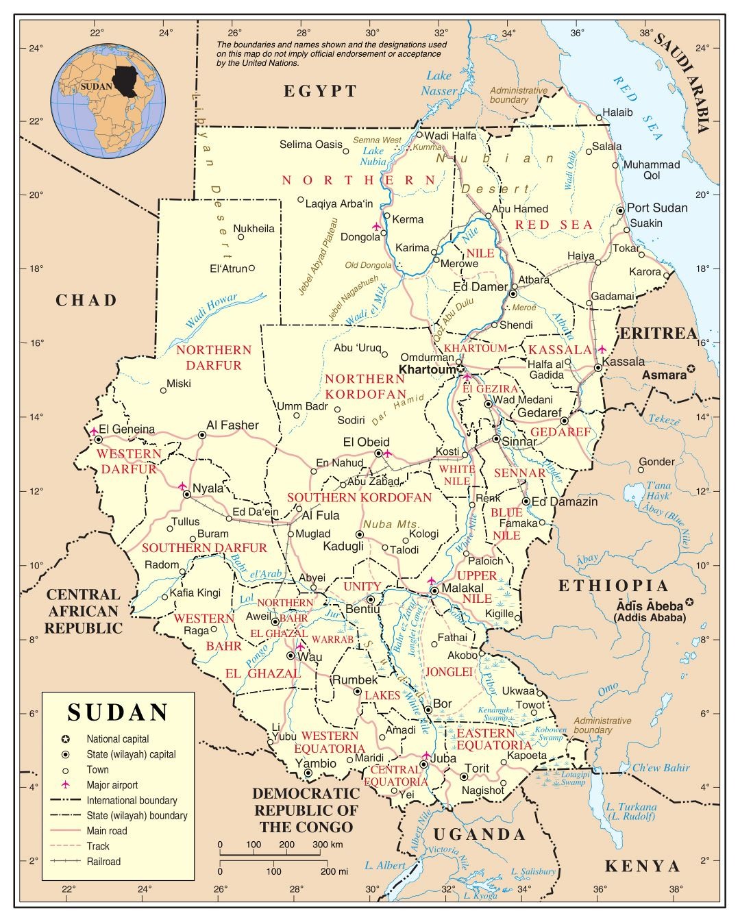 Large detailed political and administrative map of Sudan with roads, railroads, cities and airports