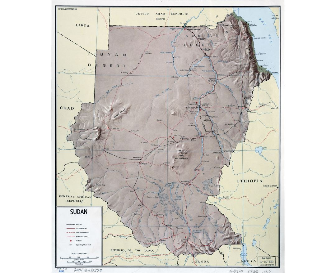 Large detailed political map of Sudan with relief, roads, railroads and airports - 1963