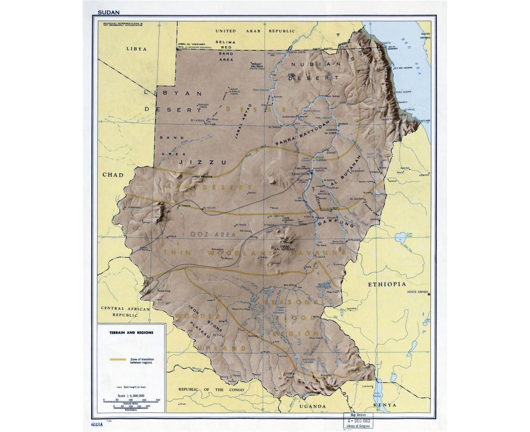 Large detailed terrain and regions map of Sudan - 1963