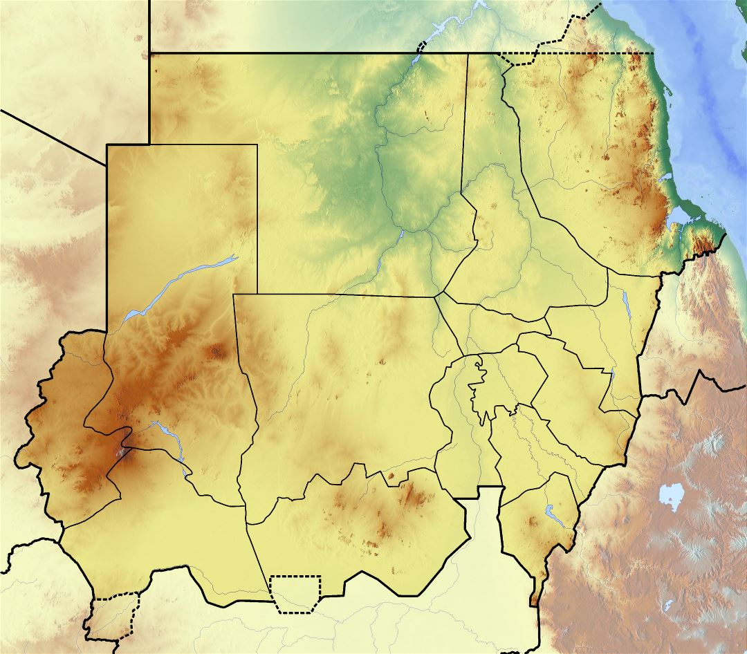 Large detailed topographical map of Sudan