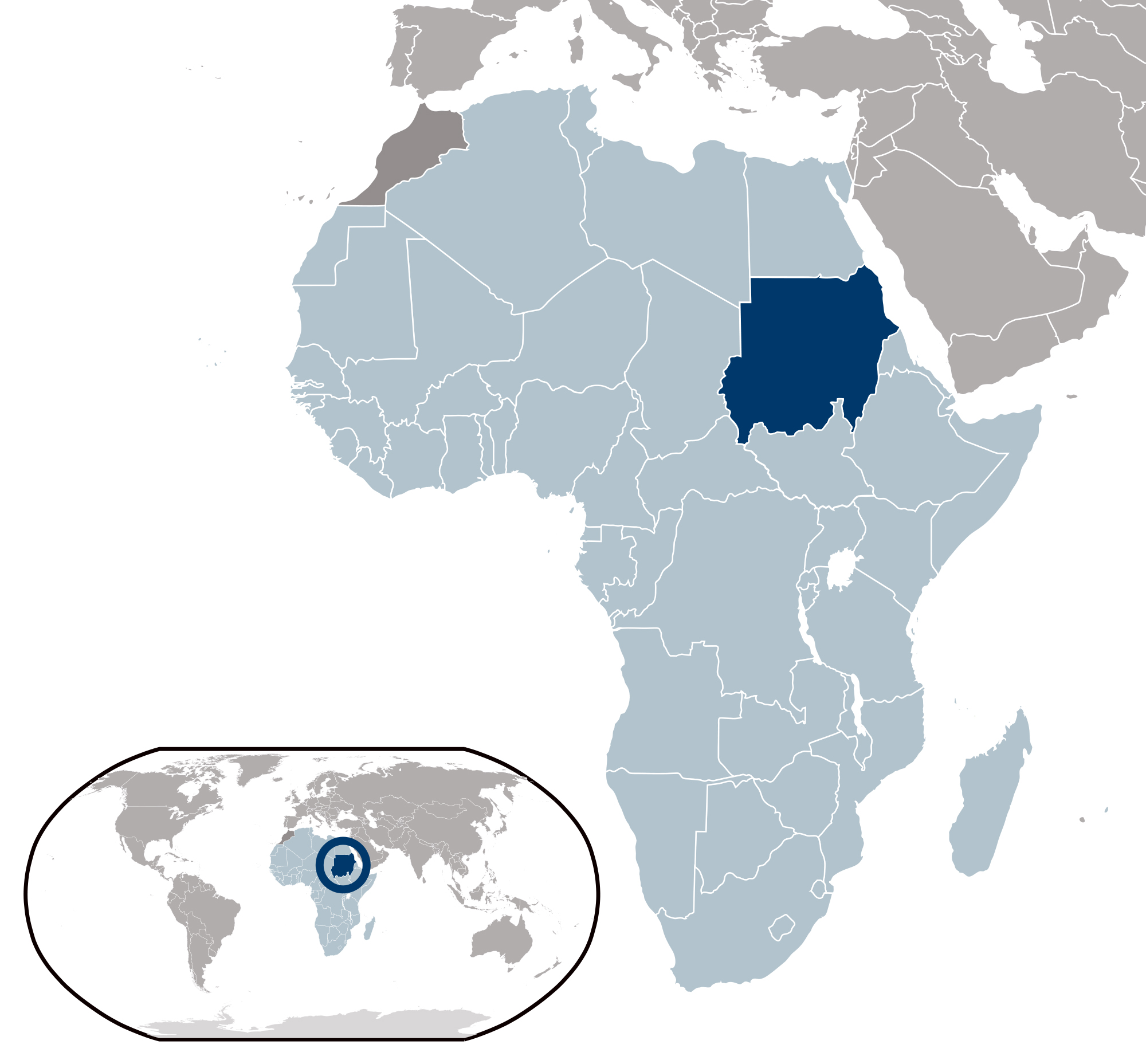 Large location map of Sudan | Sudan | Africa | Mapsland | Maps of ...