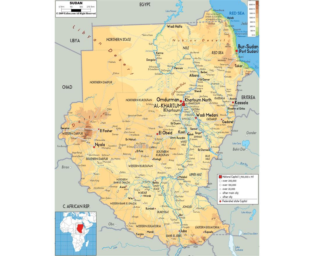 Large physical map of Sudan with roads, cities and airports
