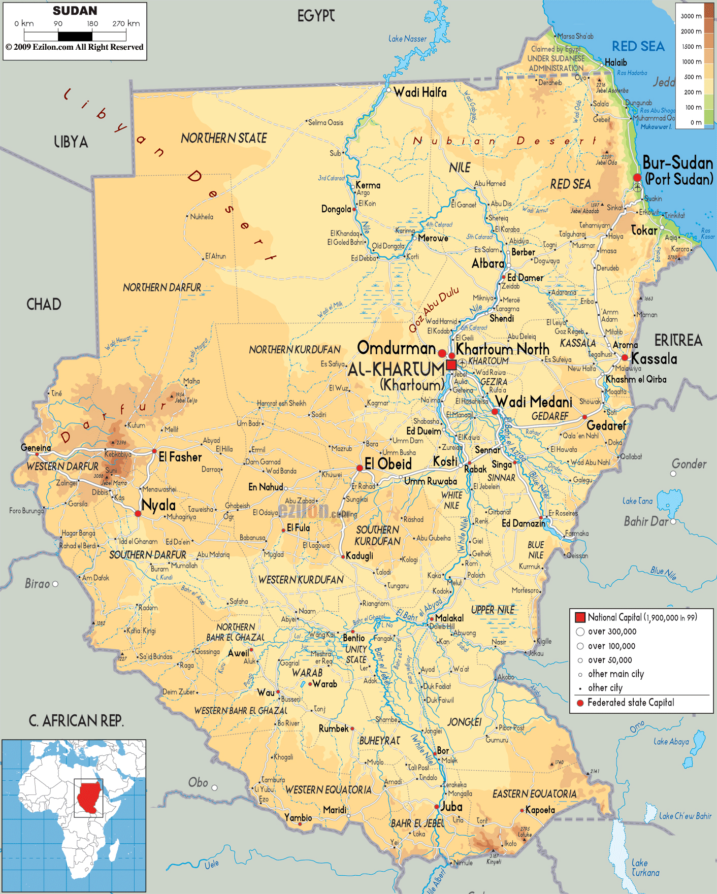 Large Physical Map Of Sudan With Roads Cities And Airports - Egypt physical map