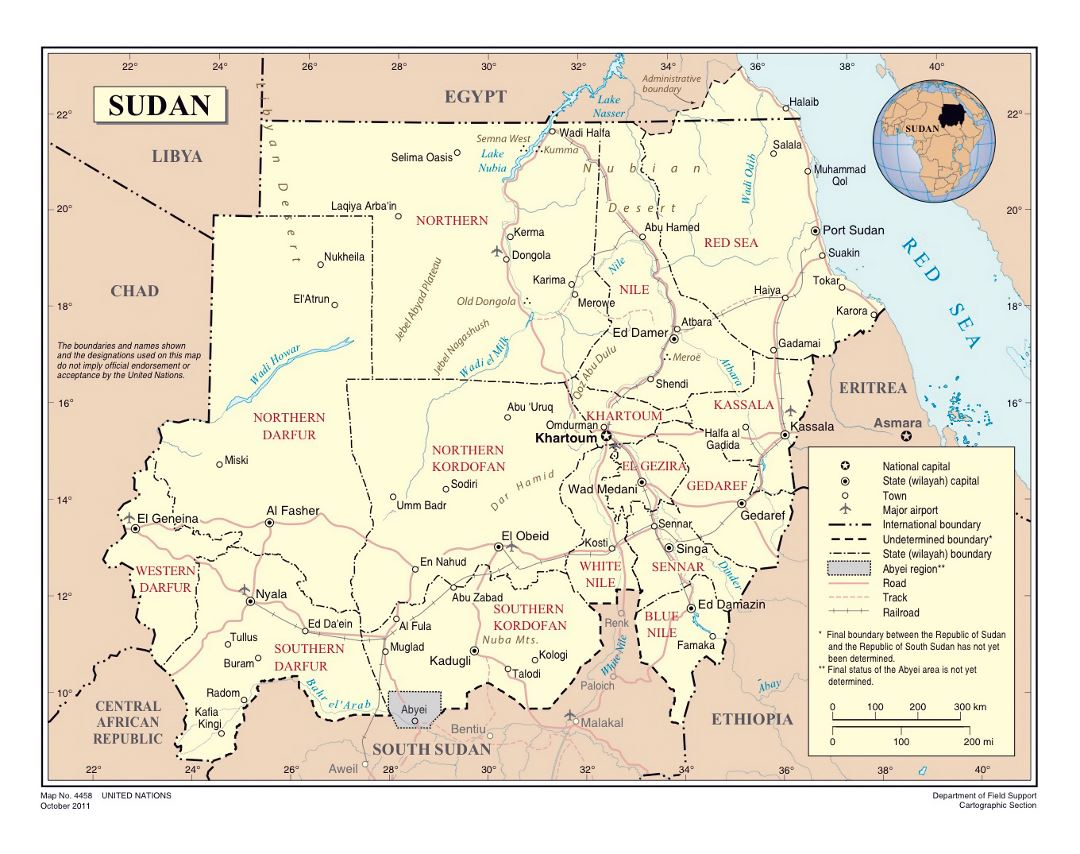 Large political and administrative map of Sudan with roads, railroads, cities and airports